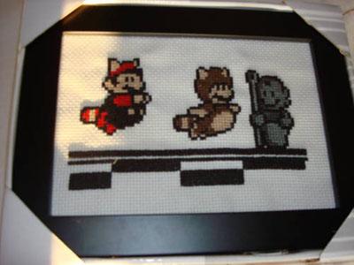 Raccoon Mario Cross-stitch